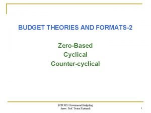 BUDGET THEORIES AND FORMATS2 ZeroBased Cyclical Countercyclical ECN
