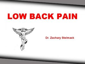 LOW BACK PAIN Dr Zachary Stelmack ANATOMY OF