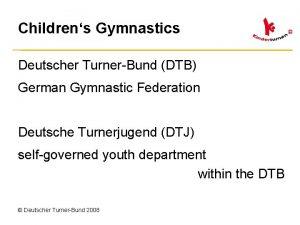 Childrens Gymnastics Deutscher TurnerBund DTB German Gymnastic Federation
