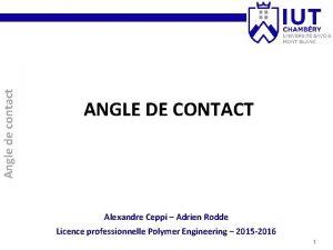 Angle de contact ANGLE DE CONTACT Alexandre Ceppi