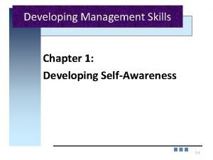 Developing Management Skills Chapter 1 Developing SelfAwareness 1