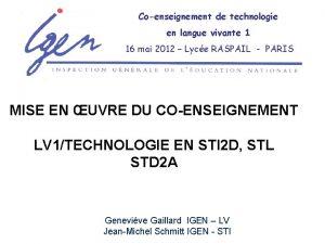 Coenseignement de technologie en langue vivante 1 16