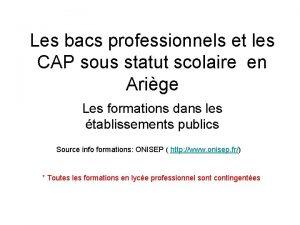 Les bacs professionnels et les CAP sous statut