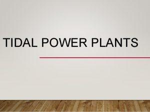 TIDAL POWER PLANTS THE TIDAL ENERGY Tidal power