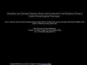 Hereditary and Sporadic Papillary Renal Carcinomas with cmet