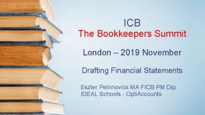 ICB The Bookkeepers Summit London 2019 November Drafting