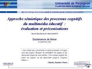 Universit de Perpignan Facult des lettres et sciences