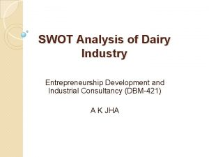 SWOT Analysis of Dairy Industry Entrepreneurship Development and