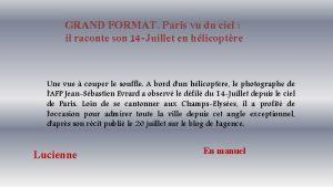 GRAND FORMAT Paris vu du ciel il raconte