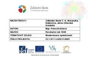 NZEV KOLY Zkladn kola T G Masaryka Bojkovice