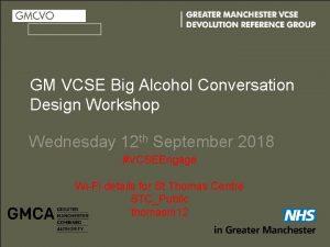 GM VCSE Big Alcohol Conversation Design Workshop Wednesday