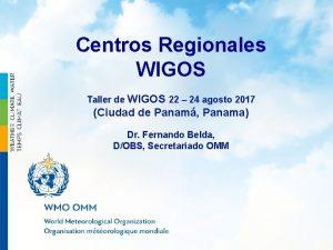 WMO Centros Regionales WIGOS Taller de WIGOS 22