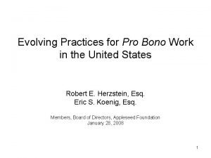 Evolving Practices for Pro Bono Work in the