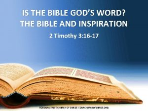 IS THE BIBLE GODS WORD THE BIBLE AND