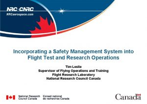 Incorporating a Safety Management System into Flight Test