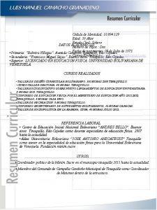 LUIS MANUEL CAMACHO GRANADINO Cdula de Identidad 10