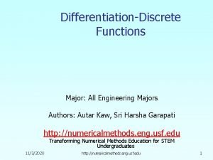 DifferentiationDiscrete Functions Major All Engineering Majors Authors Autar