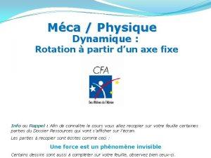 Mca Physique Dynamique Rotation partir dun axe fixe