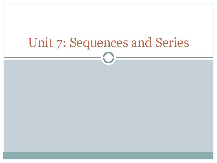 Unit 7 Sequences and Series Sequences A sequence