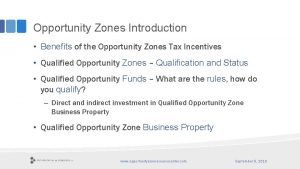 Opportunity Zones Introduction Benefits of the Opportunity Zones