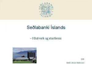 Selabanki slands Hlutverk og starfsemi 2009 Stefn Jhann