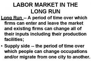 LABOR MARKET IN THE LONG RUN Long Run