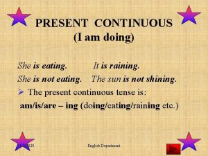 PRESENT CONTINUOUS I am doing She is eating