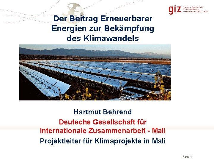 Der Beitrag Erneuerbarer Energien zur Bekmpfung des Klimawandels