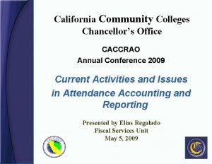 California Community Colleges Chancellors Office CACCRAO Annual Conference