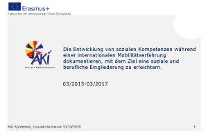 Cette action est cofinance par lUnion Europenne Die