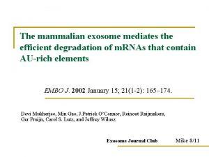 The mammalian exosome mediates the efficient degradation of