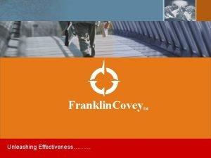 Franklin Covey Unleashing Effectiveness TM 1 IPR Copyright