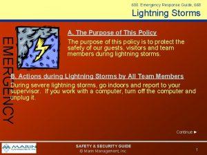 600 Emergency Response Guide 668 Lightning Storms EMERGENCY