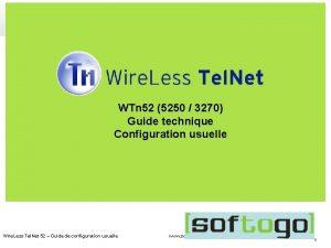 WTn 52 5250 3270 Guide technique Configuration usuelle
