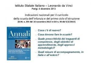 Istituto Statale Italiano Leonardo da Vinci Parigi 6