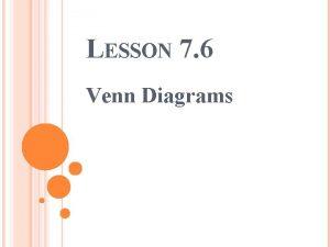 LESSON 7 6 Venn Diagrams LEARNING TARGET I