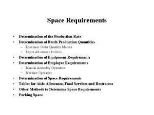 Space Requirements Determination of the Production Rate Determination