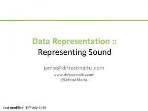Data Representation Representing Sound jamiedrfrostmaths com www drfrostmaths