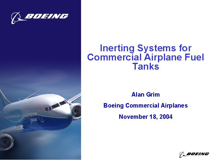 Inerting Systems for Commercial Airplane Fuel Tanks Alan