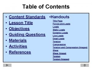 Table of Contents Content Standards Handouts Title Page