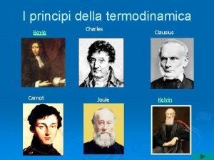 I principi della termodinamica Boyle Carnot Charles Joule