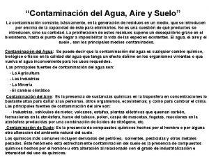 Contaminacin del Agua Aire y Suelo La contaminacin