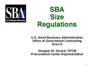 SBA Size Regulations U S Small Business Administration