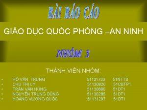 GIO DC QUC PHNG AN NINH THNH VIN