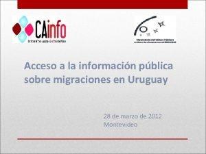 Acceso a la informacin pblica sobre migraciones en
