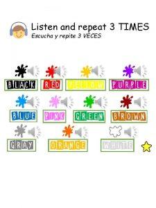 Listen and repeat 3 TIMES Escucha y repite