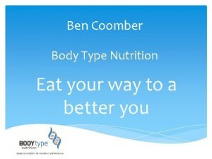 Ben Coomber Body Type Nutrition Eat your way