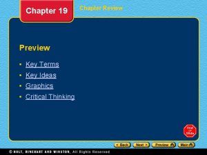 Chapter 19 Preview Key Terms Key Ideas Graphics