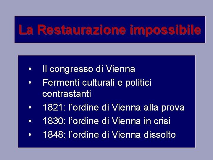 La Restaurazione impossibile Il congresso di Vienna Fermenti