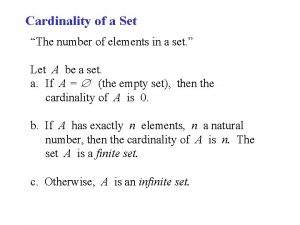 Cardinality of a Set The number of elements